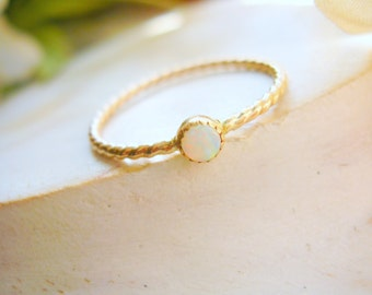 Gold-Filled Opal Stacking Ring October Birthstone Ring Unique Engagement Ring Promise Ring - made to order in your finger size