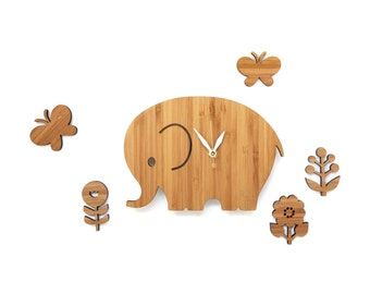 elephant clock with flowers and butterflies, wood ornaments
