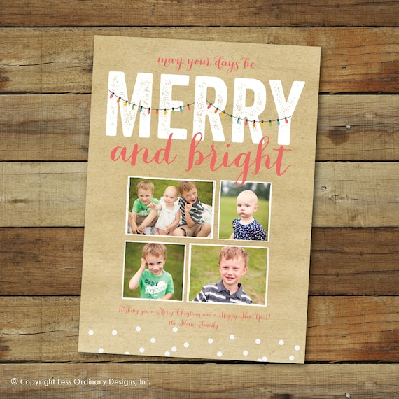 Christmas lights holiday photo card, Merry and Bright, 2013