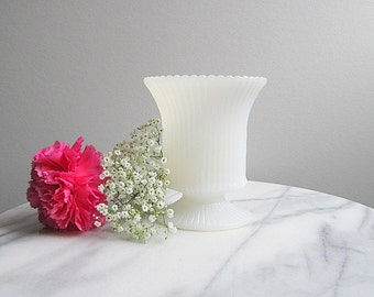 Vintage Milk Glass Vase, Oval Vase, Footed Wedding Vase