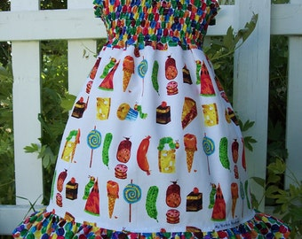 My Carrie Shirred Birthday Party Dress made with  Hungry Caterpillar Fabric