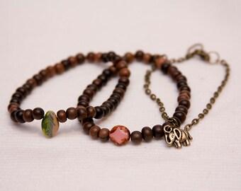 Boho stack bracelet set, boho jewelry, stocking stuffer teen girl, stretch bracelet, elephant charm bracelet, wood beaded stack bracelets