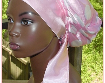 Sleep Slumber Hat Cap Natural Hair Locs-Pink White Polka Dots-Satin Charmeuse