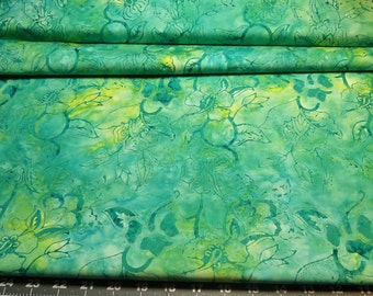 Fabric 1/2yd Tonga Batik Chameleon Collection Flora Fauna in shades of MERMAID from Timeless Treasures Beautiful Exotic top quality material