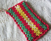 Vintage Handmade Crochet Rectangle Potholder Red Green Yellow 1930's/40's