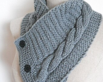 Knit Cowl in medium grey, neckwarmer, scarf with buttons. Women Accessory Winter Fashion