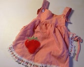 adorable 80s summer strawberry apron dress or shirt - baby toddler girls