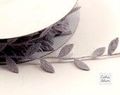 3 Yards Leaf Ribbon - Grey Felt - Scrapbooking, Gift Wrapping, Trim, Wedding Gray