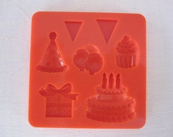 cupcake cake banner birthday silicone rubber mold - 7 designs - resin, polymer clay, mod melts, candy, utee, plaster, wax, soap, epoxy clay