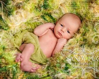 Baby Blanket Photo Props Rug. Garden Green Photography Prop for Newborns Babies Children
