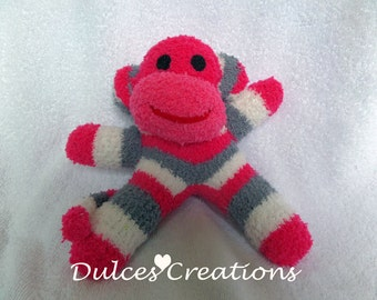 Cranberry the Sock monkey ready to ship pink, grey and white