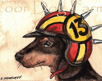A Hound in a Helmet- print 8x10