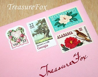 Floral LOVE .. Southern Bride .. Unused Vintage US Postage Stamps .. mail 10 two ounce letters. Wedding invitations, Dixie bride, Charleston