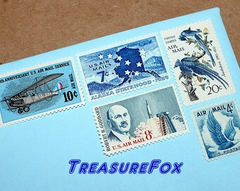 BLUE Airmails .. Unused Vintage Postage Stamps .. Enough to mail 5 letters