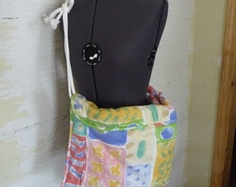 Long Tote Bag, Handmade Tote, Padded Tote Bag, Recycled Fabric, Rope Strap, Unique Tote, Hippie Boho, Spring Summer, Unique Shoulder Bag