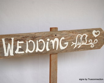 Love Bird Wedding Sign Arrow Romantic Outdoor Weddings Hand Painted Reclaimed Wood. Rustic Weddings Directional Road Signs Barn Yard Wedding