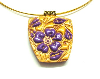 Jewelry necklace Polymer clay unique pendant fuchsia flower on gold surface handmade by Artefyk