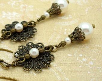 Victorian Earrings with Cream Swarovski Pearl Dangle and Brass Filigree