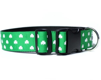 Wide 1 1/2 inch Adjustable Buckle or Martingale Dog Collar in Lucky