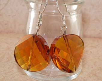 Topaz Crystal Earrings, Faceted, Rainbow, AB, Coin, Large, Sterling Silver, Handmade Jewelry, DDurda