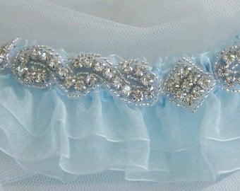 Weddings, Wedding, Garter, Bridal Blue Garter, Organza Garter, Something Blue, Bride Garter, Single Garter