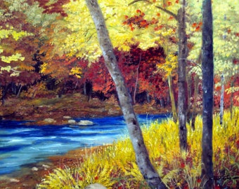 Maine Autumn River Trees Original Plein Air Oil Painting