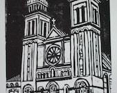 Lady of Lourdes - Original Hand-Pulled Woodblock Print