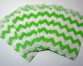 20 Green and White Chevron Bags - Little Bitty Paper Bags Pack of 20