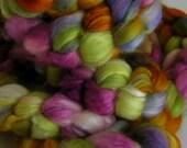 Fiber Roving Top BFL Silk My FLOWER GARDEN Top Hand Painted Wool Spin Felt Craft Roving 4 ounces