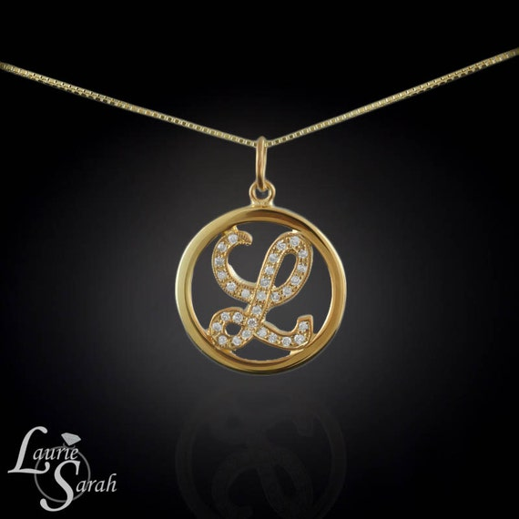 Diamond Initial Pendant on 16 inch 14kt Gold Chain - All letters available - LS1408
