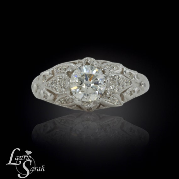 Engagement Ring, Lotus Flower Diamond Engagement Ring with 1 carat Diamond - LS1068