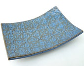 Blue Textured Tin Roof Handmade Ceramic Pottery Soap Dish Plate