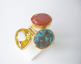 Triple Gold plated Turquoise and Carnelian ring
