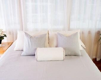 Organic Grey Chambray Pillow, Bedding, 18 x 18