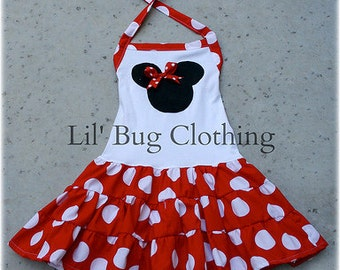 Minnie Mouse Tiered Halter Dress, Minnie Mouse Birthday Party Dress, Custom Boutique Minnie Mouse Dress, Red White Polka Dot Dress