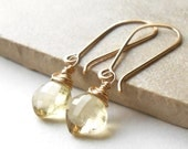 Lemon Quartz Earrings, Long Gold Drop Briolette Earrings