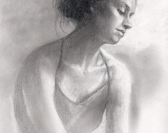 Graphite Drawing -- CONSIDERING-- 11 by 8.5 inch unframed original art, by Diana Moses Botkin