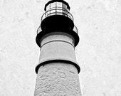 Portland Head Lighthouse Photos, Lighthouse Photography, Maine, Minimalist Wall Art, Black & White, Historic 5x7, 8x10 Home/Office Decor