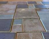 MOSAIC TILES- 37 handmade, handglazed clay tiles, RUSTIC Squares, Gray, Tan, Brown