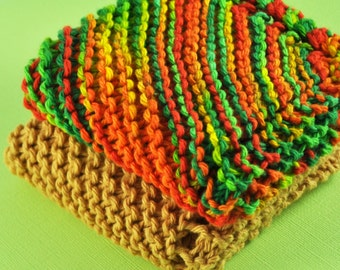Handmade Dish Cloths - Garden Salsa Delight - 100 Percent Cotton - Hand Knit Wash Cloths and Dish Cloths - Great Gift - Red Green Yellow Tan