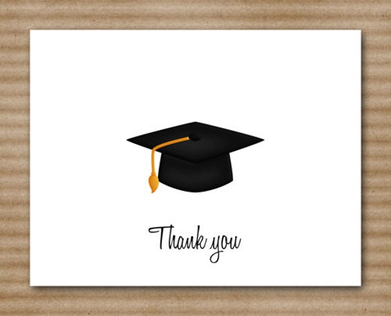 Graduation Thank You Cards: Set Of 8 Graduation Thank You Cards Hat By PaperHouseDesigns