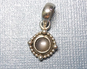 Small Beeded Halo Round Gray Moonstone Sterling Silver Pendant