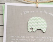 Baby Shower Invitation, Mint Chevron Hand-Crafted Elephant