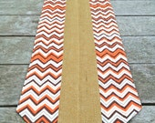 Table Runner Reversible 72 inch Burlap and Autumn Chevron Quilted Zig Zag Tabletopper
