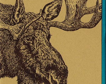 Moose Card Letterpress Printed Original Illustration
