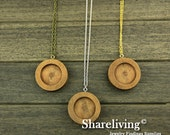 3 Sets 38mm Round Wooden Pendant Necklace With 25mm Setting / Tray - HW707C