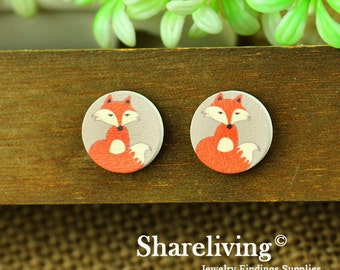 Buy 1 Get 1 Free - Fox Wood Cabochon, Wooden Button, 12mm 15mm 20mm Round Handmade Photo Wood Cut Cabochon -- HWC005D