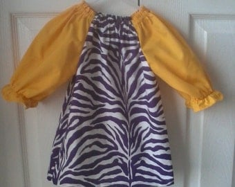 LSU peasant dress,  purple and white stripes and yellow sleeves, size 3-6 M