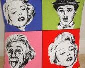 "Albert Einstein Marilyn Monroe Charlie Chaplin 20x20 Pillow Cover 1950s Hollywood 20"" Cushion Sham Case Slip Andy Warhol Pop Art Inspired"