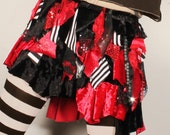 Shabby Chic Skirt, velvet mini skirt, tattered short skirt, red ruffle skirt, black patchwork, Shimmy skirt